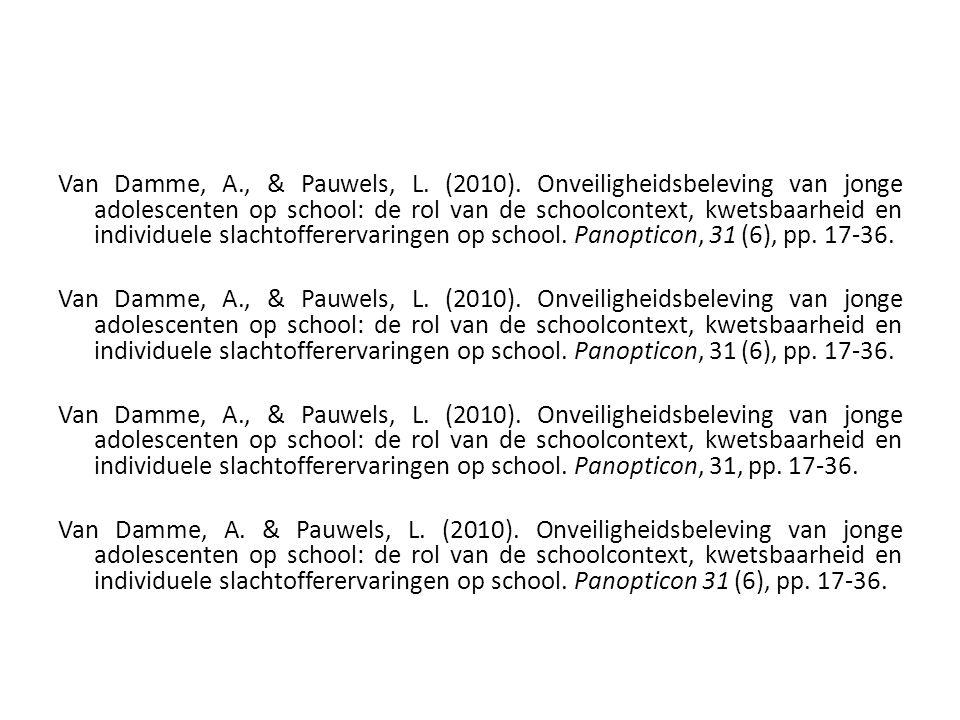 Van Damme, A., & Pauwels, L. (2010). Onveiligheidsbeleving van jonge adolescenten op school: de rol van de schoolcontext, kwetsbaarheid en individuele