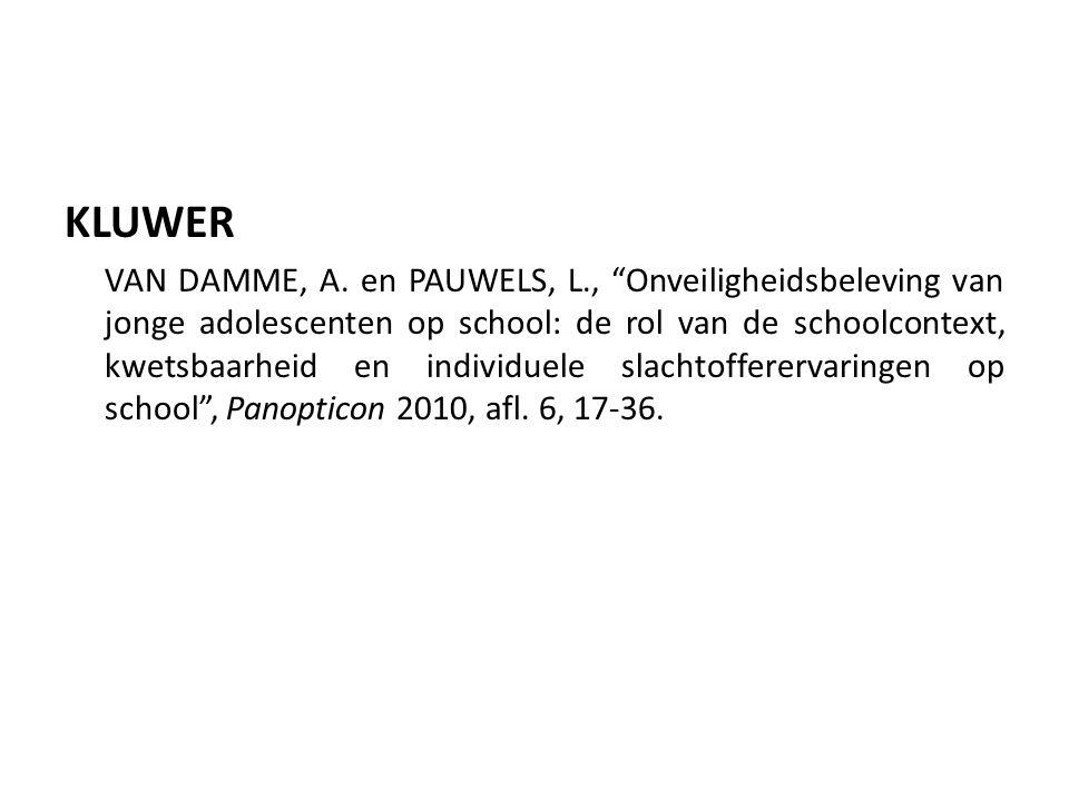 KLUWER VAN DAMME, A.