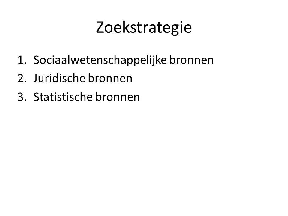 Zoekstrategie 1.Sociaalwetenschappelijke bronnen 2.Juridische bronnen 3.Statistische bronnen