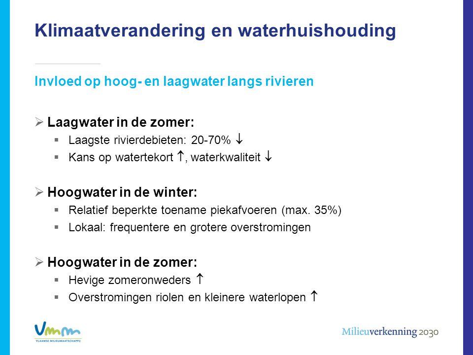 Klimaatverandering en waterhuishouding Invloed op hoog- en laagwater langs rivieren  Laagwater in de zomer:  Laagste rivierdebieten: 20-70%   Kans