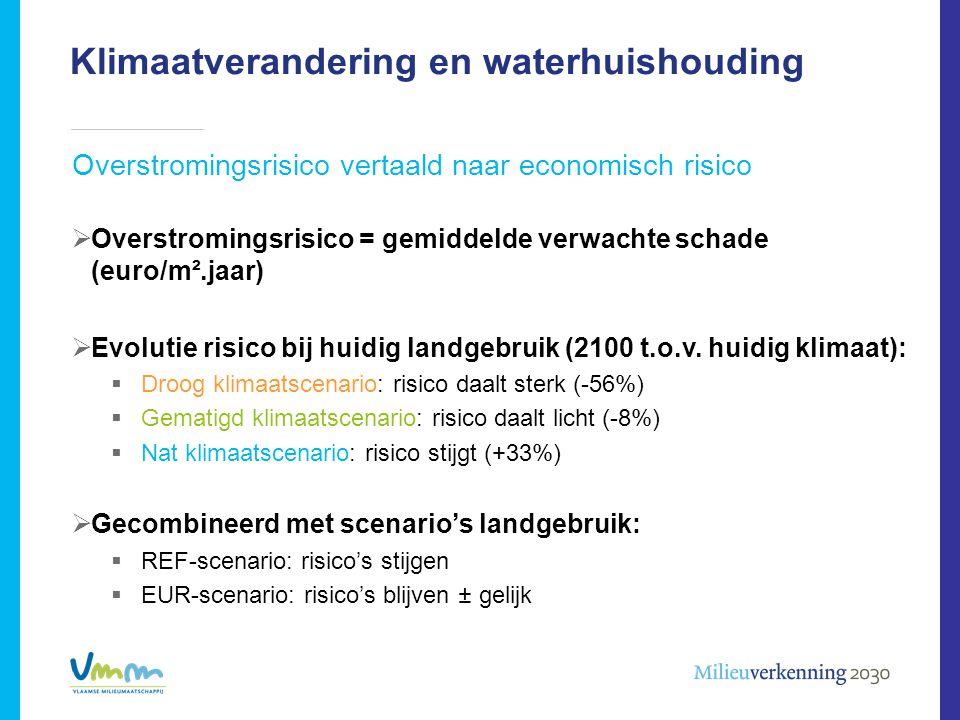 Klimaatverandering en waterhuishouding Overstromingsrisico vertaald naar economisch risico  Overstromingsrisico = gemiddelde verwachte schade (euro/m².jaar)  Evolutie risico bij huidig landgebruik (2100 t.o.v.