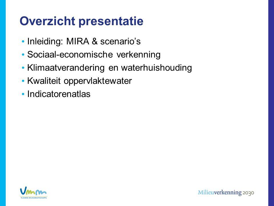 Inleiding: MIRA & scenario's Sociaal-economische verkenning Klimaatverandering en waterhuishouding Kwaliteit oppervlaktewater Indicatorenatlas Overzic