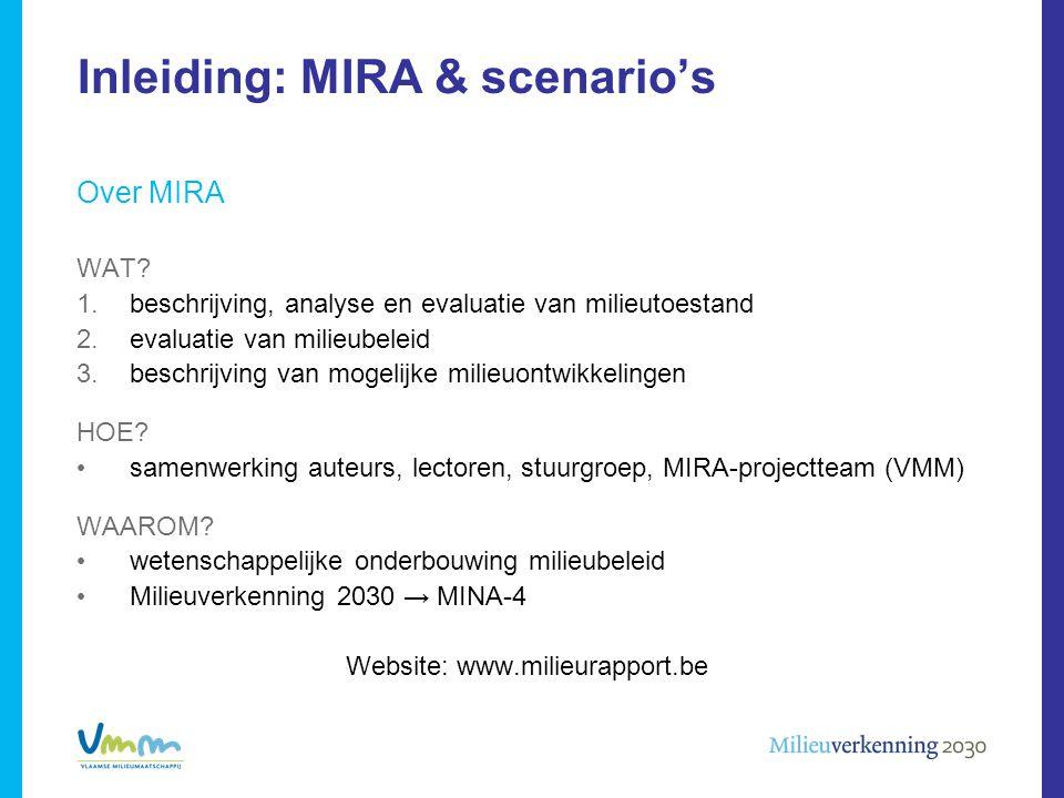 Inleiding: MIRA & scenario's Over MIRA WAT? 1.beschrijving, analyse en evaluatie van milieutoestand 2.evaluatie van milieubeleid 3.beschrijving van mo