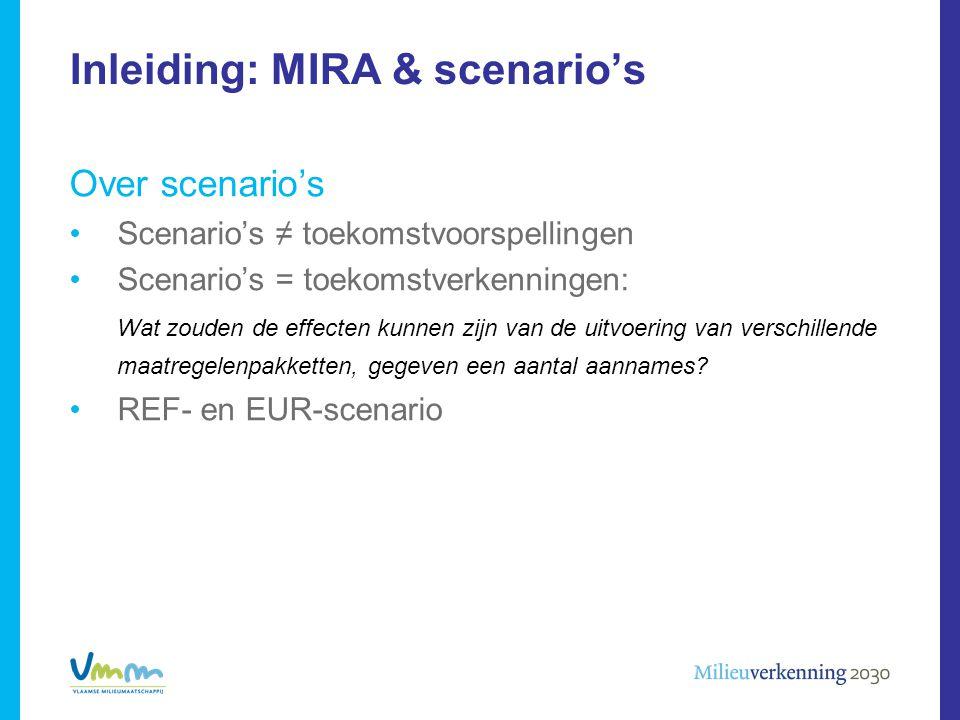 Inleiding: MIRA & scenario's Over scenario's Scenario's ≠ toekomstvoorspellingen Scenario's = toekomstverkenningen: Wat zouden de effecten kunnen zijn van de uitvoering van verschillende maatregelenpakketten, gegeven een aantal aannames.