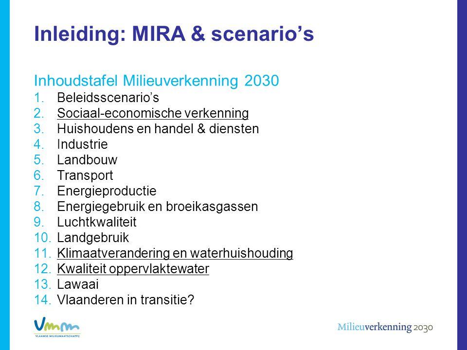 Inleiding: MIRA & scenario's Inhoudstafel Milieuverkenning 2030 1.Beleidsscenario's 2.Sociaal-economische verkenning 3.Huishoudens en handel & dienste