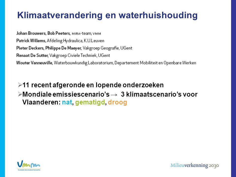 Klimaatverandering en waterhuishouding  11 recent afgeronde en lopende onderzoeken  Mondiale emissiescenario's → 3 klimaatscenario's voor Vlaanderen: nat, gematigd, droog