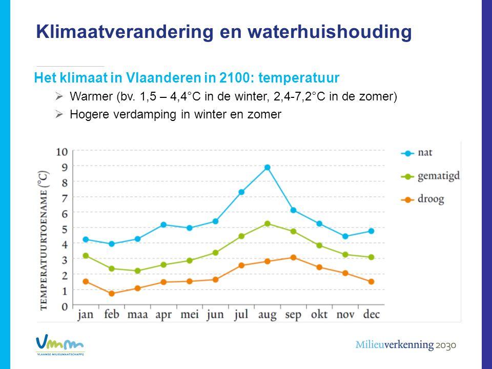 Klimaatverandering en waterhuishouding Het klimaat in Vlaanderen in 2100: temperatuur  Warmer (bv. 1,5 – 4,4°C in de winter, 2,4-7,2°C in de zomer) 