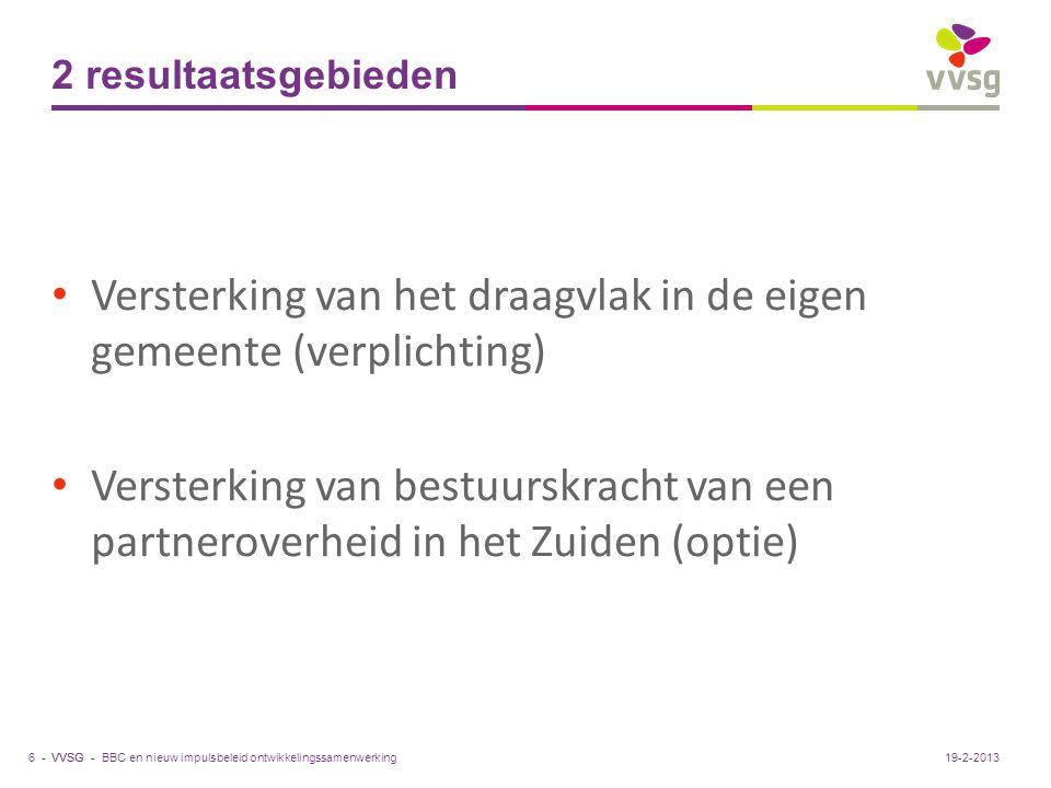 VVSG - 2 resultaatsgebieden Versterking van het draagvlak in de eigen gemeente (verplichting) Versterking van bestuurskracht van een partneroverheid i