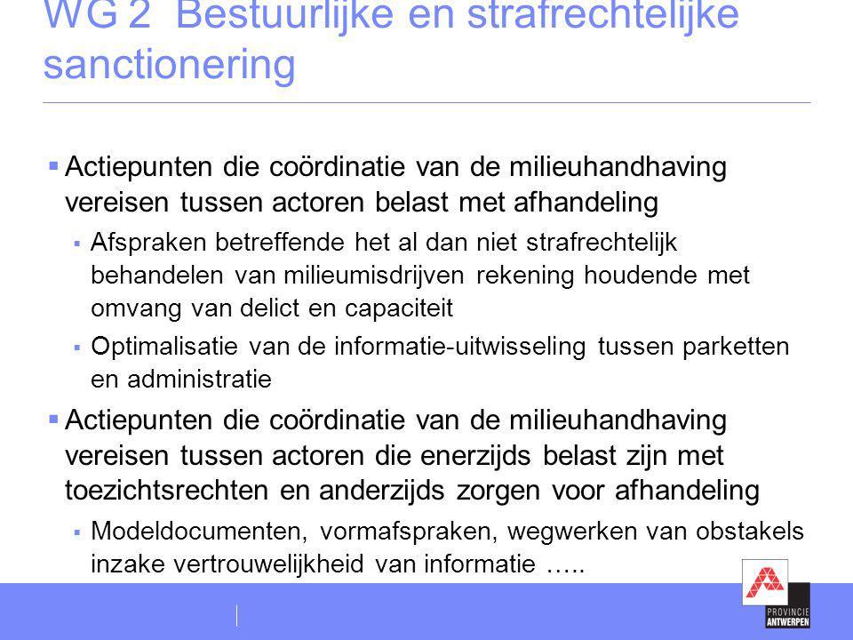WG 2 Bestuurlijke en strafrechtelijke sanctionering  Actiepunten die coördinatie van de milieuhandhaving vereisen tussen actoren belast met afhandeli