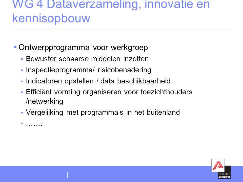 WG 4 Dataverzameling, innovatie en kennisopbouw  Ontwerpprogramma voor werkgroep  Bewuster schaarse middelen inzetten  Inspectieprogramma/ risicobe