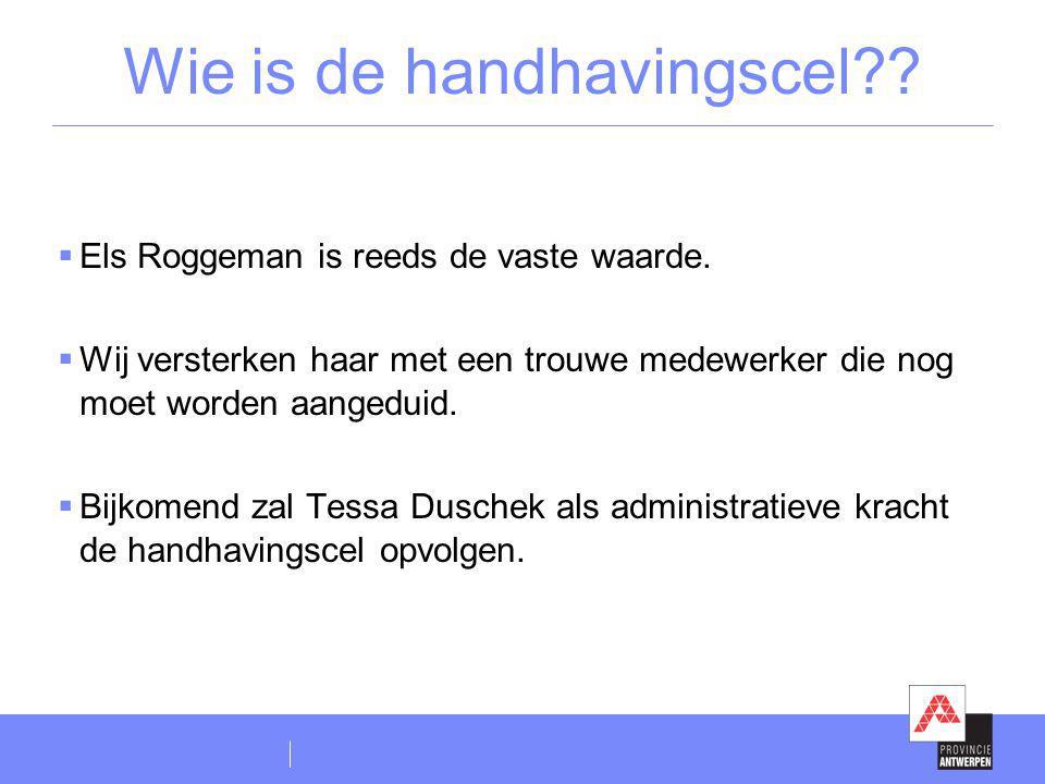 Wie is de handhavingscel??  Els Roggeman is reeds de vaste waarde.  Wij versterken haar met een trouwe medewerker die nog moet worden aangeduid.  B