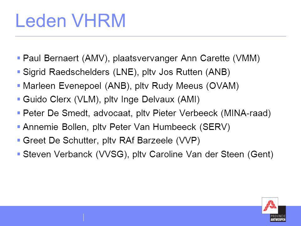 Leden VHRM  Paul Bernaert (AMV), plaatsvervanger Ann Carette (VMM)  Sigrid Raedschelders (LNE), pltv Jos Rutten (ANB)  Marleen Evenepoel (ANB), plt
