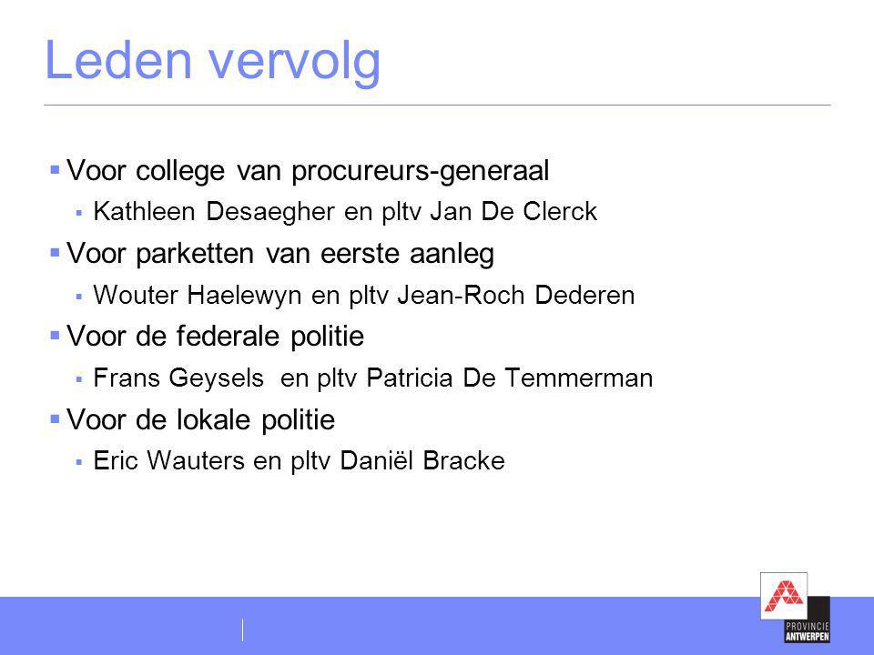 Leden vervolg  Voor college van procureurs-generaal  Kathleen Desaegher en pltv Jan De Clerck  Voor parketten van eerste aanleg  Wouter Haelewyn e