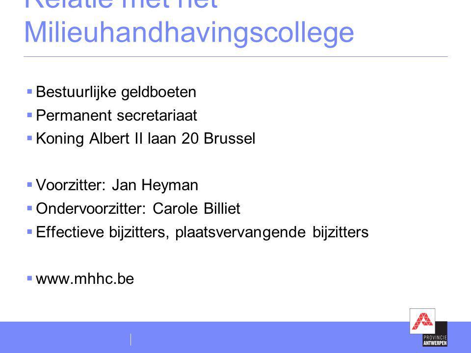 Relatie met het Milieuhandhavingscollege  Bestuurlijke geldboeten  Permanent secretariaat  Koning Albert II laan 20 Brussel  Voorzitter: Jan Heyma