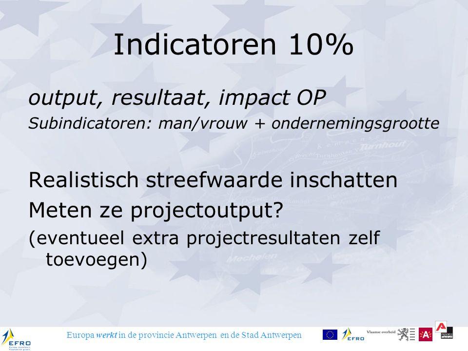 Europa werkt in de provincie Antwerpen en de Stad Antwerpen Indicatoren 10% output, resultaat, impact OP Subindicatoren: man/vrouw + ondernemingsgrootte Realistisch streefwaarde inschatten Meten ze projectoutput.