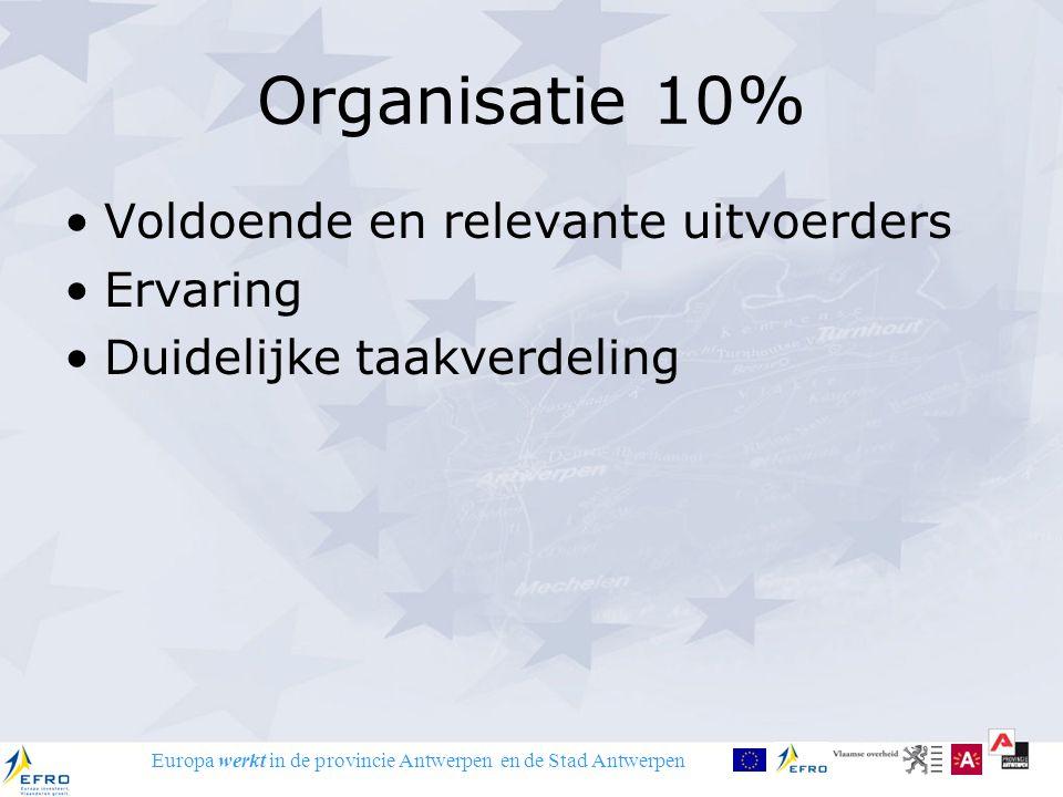 Europa werkt in de provincie Antwerpen en de Stad Antwerpen Organisatie 10% Voldoende en relevante uitvoerders Ervaring Duidelijke taakverdeling