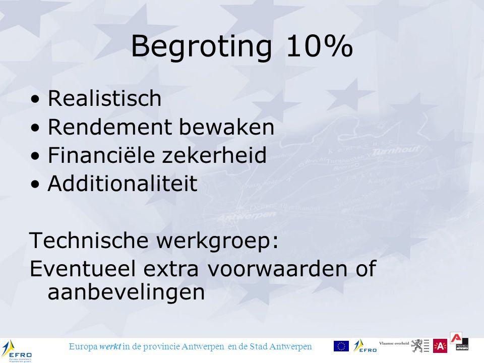 Europa werkt in de provincie Antwerpen en de Stad Antwerpen Van idee naar project Project aflijnen: Inhoud.