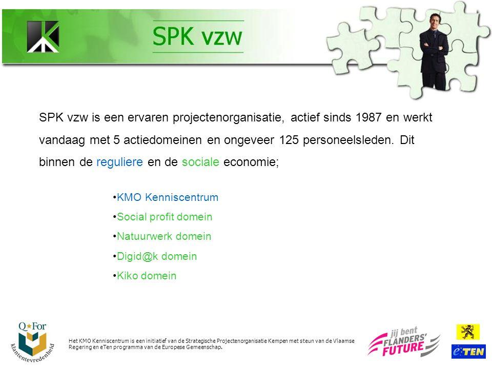 SPK vzw is een ervaren projectenorganisatie, actief sinds 1987 en werkt vandaag met 5 actiedomeinen en ongeveer 125 personeelsleden.