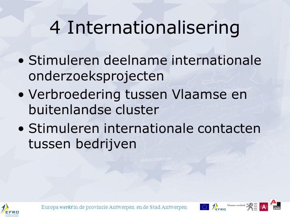 Europa werkt in de provincie Antwerpen en de Stad Antwerpen 4 Internationalisering Stimuleren deelname internationale onderzoeksprojecten Verbroedering tussen Vlaamse en buitenlandse cluster Stimuleren internationale contacten tussen bedrijven