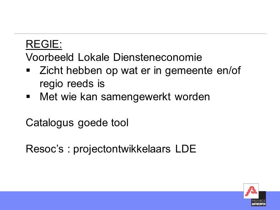 REGIE: Voorbeeld Lokale Diensteneconomie  Zicht hebben op wat er in gemeente en/of regio reeds is  Met wie kan samengewerkt worden Catalogus goede tool Resoc's : projectontwikkelaars LDE