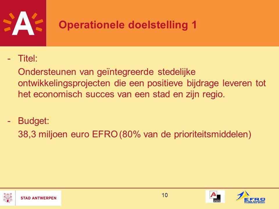10 Operationele doelstelling 1 -Titel: Ondersteunen van geïntegreerde stedelijke ontwikkelingsprojecten die een positieve bijdrage leveren tot het eco