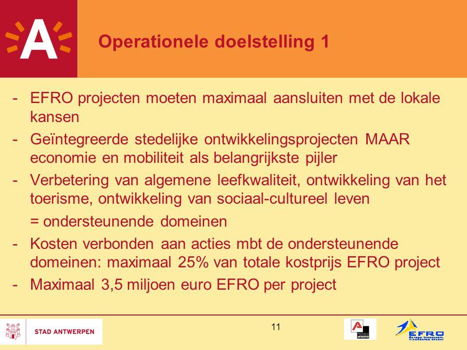 11 Operationele doelstelling 1 -EFRO projecten moeten maximaal aansluiten met de lokale kansen -Geïntegreerde stedelijke ontwikkelingsprojecten MAAR economie en mobiliteit als belangrijkste pijler -Verbetering van algemene leefkwaliteit, ontwikkeling van het toerisme, ontwikkeling van sociaal-cultureel leven = ondersteunende domeinen -Kosten verbonden aan acties mbt de ondersteunende domeinen: maximaal 25% van totale kostprijs EFRO project -Maximaal 3,5 miljoen euro EFRO per project