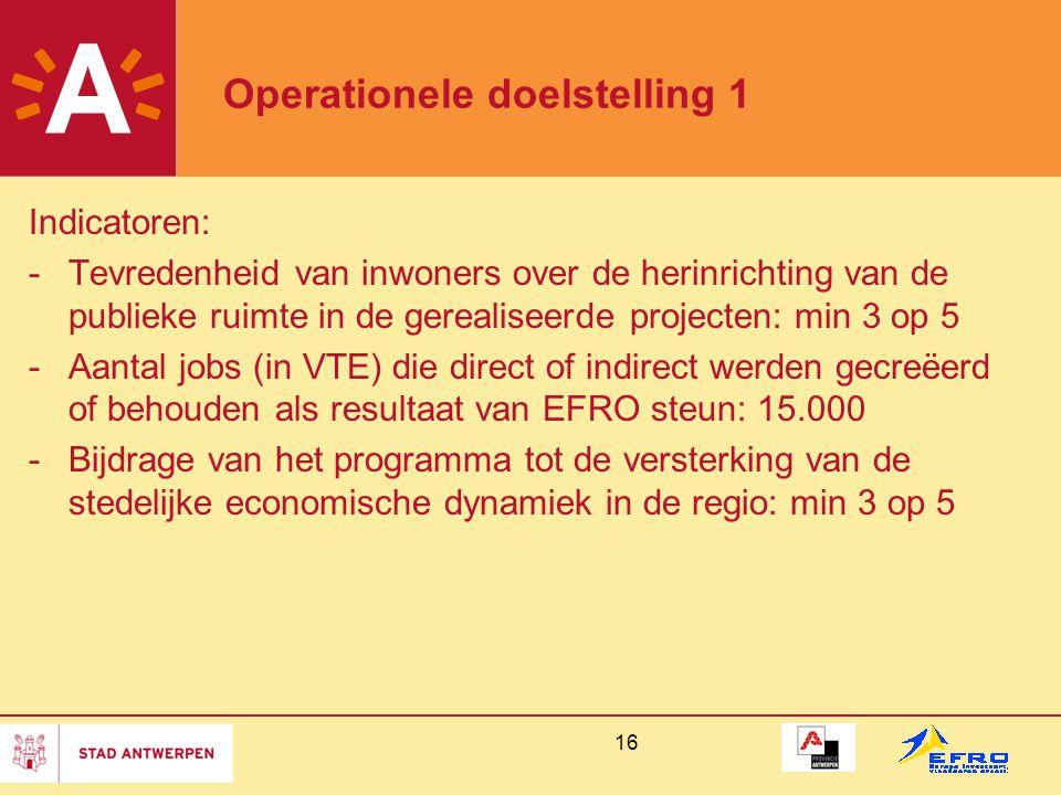 16 Operationele doelstelling 1 Indicatoren: -Tevredenheid van inwoners over de herinrichting van de publieke ruimte in de gerealiseerde projecten: min 3 op 5 -Aantal jobs (in VTE) die direct of indirect werden gecreëerd of behouden als resultaat van EFRO steun: 15.000 -Bijdrage van het programma tot de versterking van de stedelijke economische dynamiek in de regio: min 3 op 5