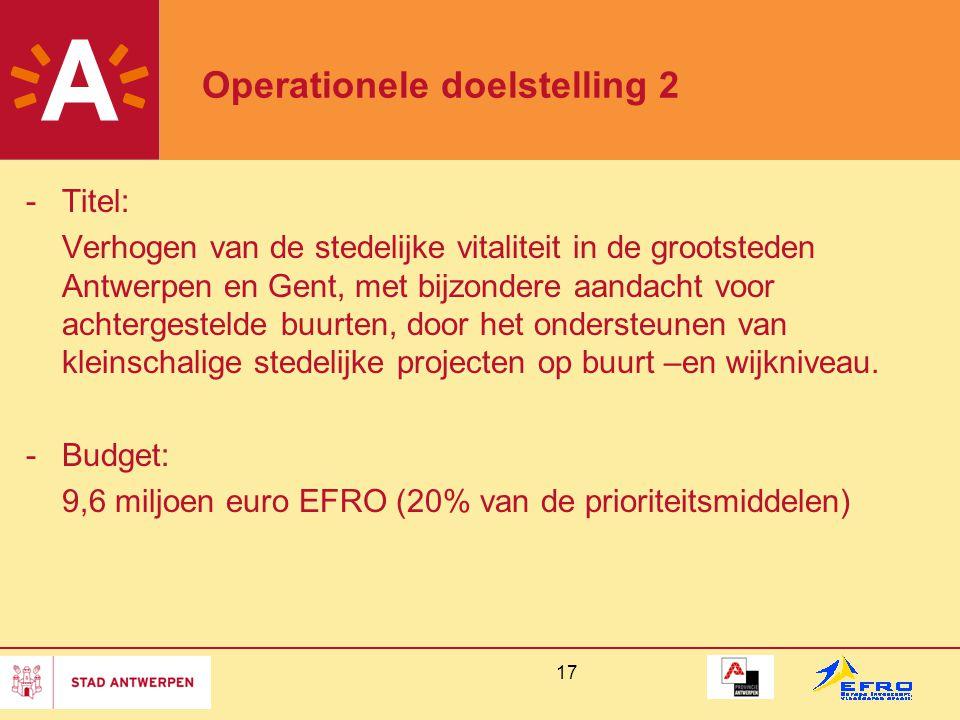 17 Operationele doelstelling 2 -Titel: Verhogen van de stedelijke vitaliteit in de grootsteden Antwerpen en Gent, met bijzondere aandacht voor achtergestelde buurten, door het ondersteunen van kleinschalige stedelijke projecten op buurt –en wijkniveau.