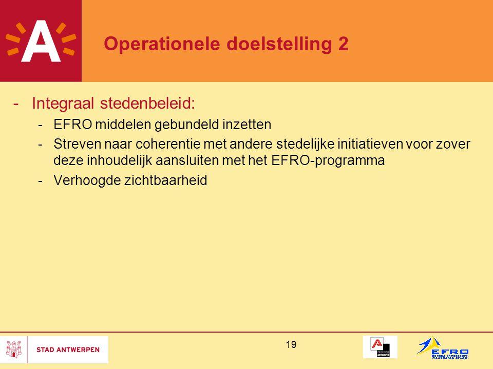 19 Operationele doelstelling 2 -Integraal stedenbeleid: -EFRO middelen gebundeld inzetten -Streven naar coherentie met andere stedelijke initiatieven voor zover deze inhoudelijk aansluiten met het EFRO-programma -Verhoogde zichtbaarheid