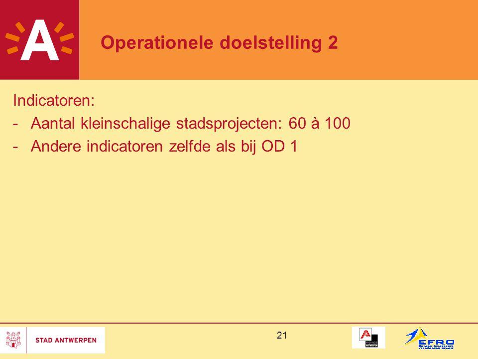 21 Operationele doelstelling 2 Indicatoren: -Aantal kleinschalige stadsprojecten: 60 à 100 -Andere indicatoren zelfde als bij OD 1