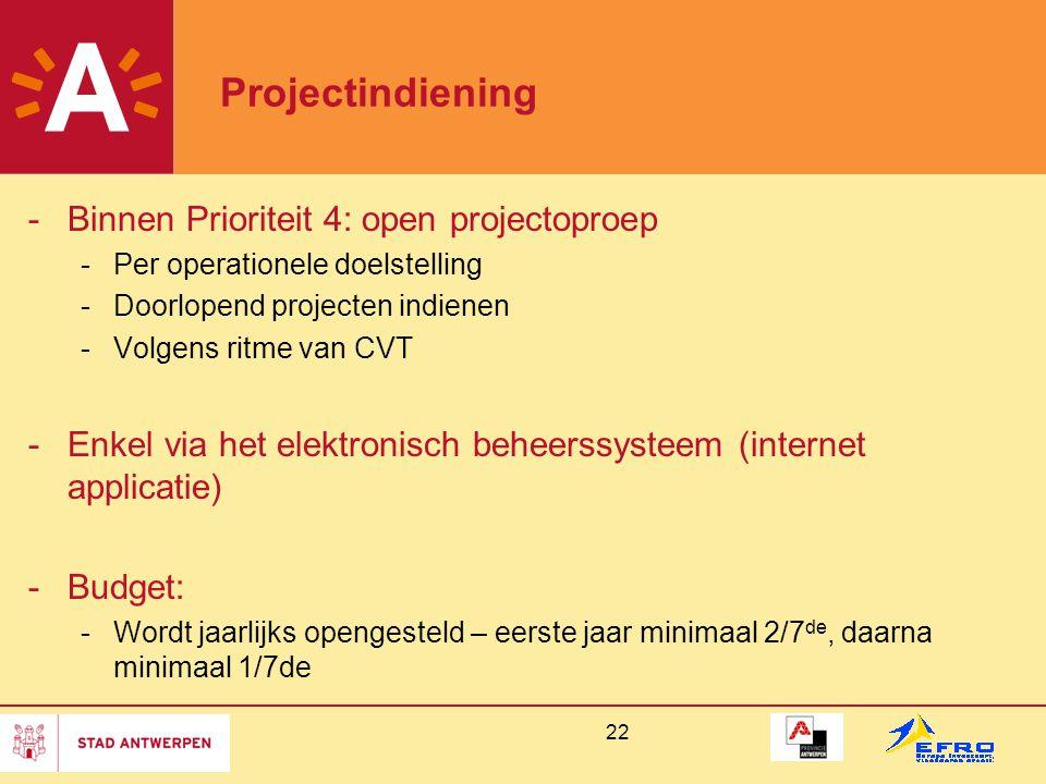 22 Projectindiening -Binnen Prioriteit 4: open projectoproep -Per operationele doelstelling -Doorlopend projecten indienen -Volgens ritme van CVT -Enkel via het elektronisch beheerssysteem (internet applicatie) -Budget: -Wordt jaarlijks opengesteld – eerste jaar minimaal 2/7 de, daarna minimaal 1/7de