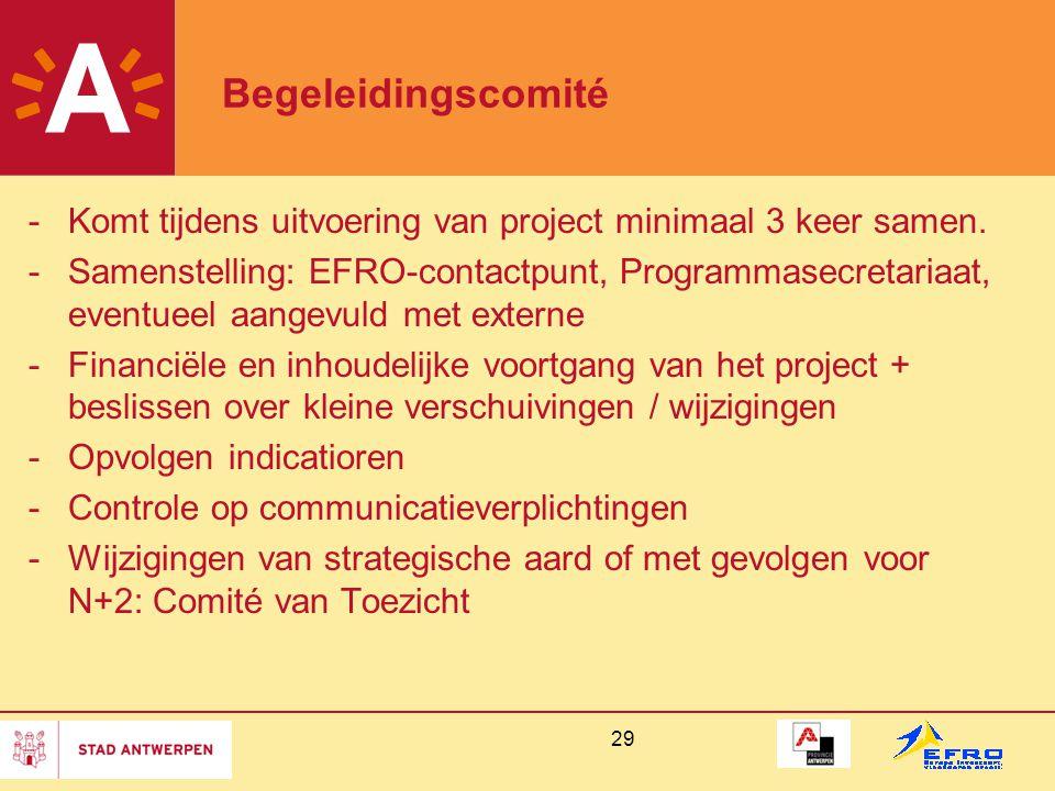 29 Begeleidingscomité -Komt tijdens uitvoering van project minimaal 3 keer samen. -Samenstelling: EFRO-contactpunt, Programmasecretariaat, eventueel a
