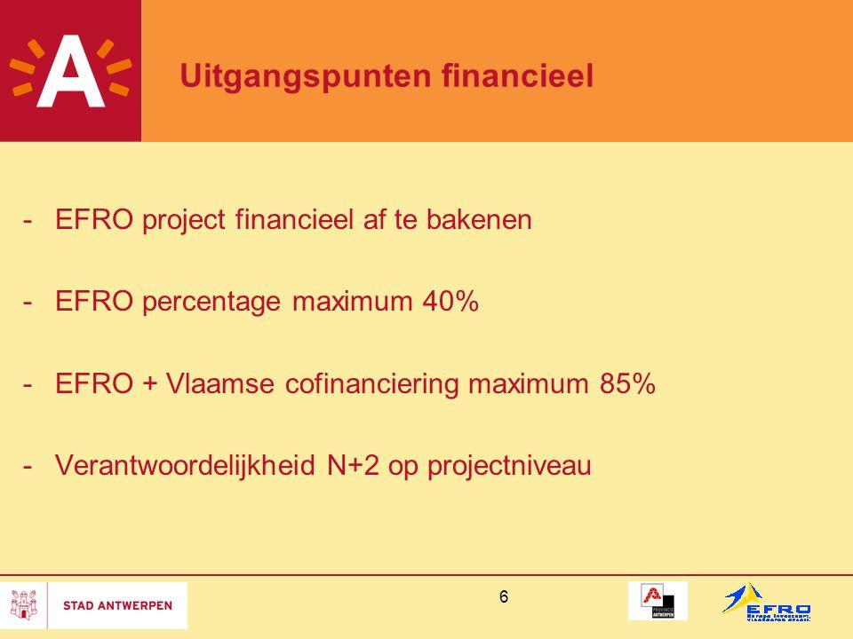6 Uitgangspunten financieel -EFRO project financieel af te bakenen -EFRO percentage maximum 40% -EFRO + Vlaamse cofinanciering maximum 85% -Verantwoordelijkheid N+2 op projectniveau