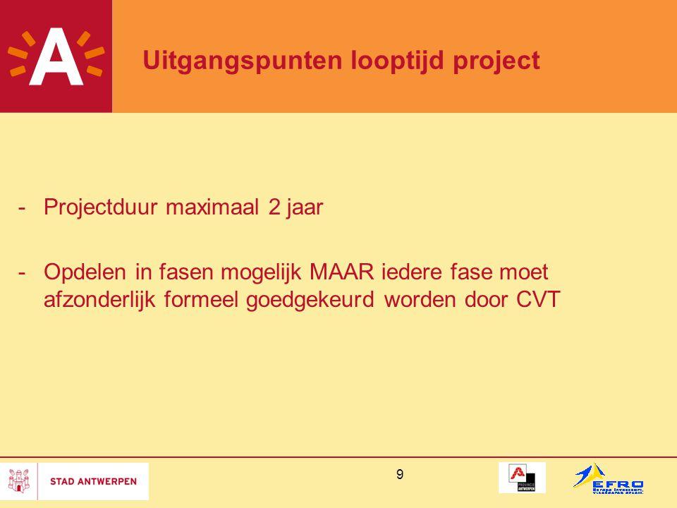 9 Uitgangspunten looptijd project -Projectduur maximaal 2 jaar -Opdelen in fasen mogelijk MAAR iedere fase moet afzonderlijk formeel goedgekeurd worde