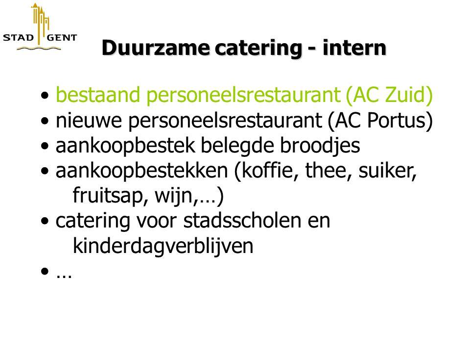Duurzame catering - intern Duurzame catering - intern bestaand personeelsrestaurant (AC Zuid) nieuwe personeelsrestaurant (AC Portus) aankoopbestek be