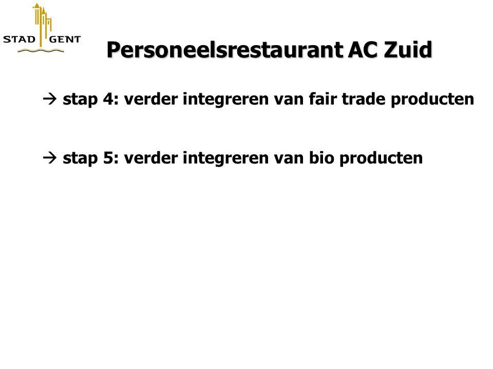 Personeelsrestaurant AC Zuid Personeelsrestaurant AC Zuid  stap 4: verder integreren van fair trade producten  stap 5: verder integreren van bio pro