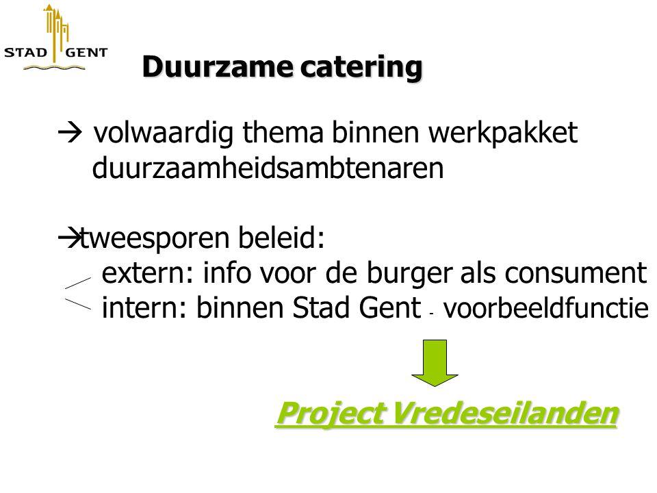 Duurzame catering Duurzame catering  volwaardig thema binnen werkpakket duurzaamheidsambtenaren  tweesporen beleid: extern: info voor de burger als