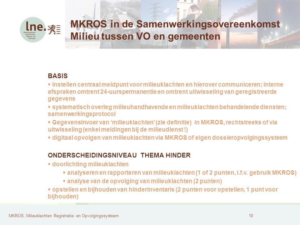 MKROS, Milieuklachten Registratie- en Opvolgingssysteem11 Nut van MKROS.