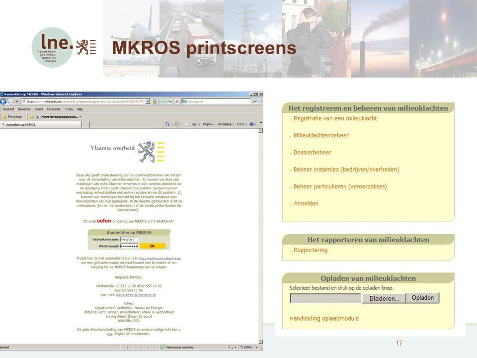 MKROS, Milieuklachten Registratie- en Opvolgingssysteem18 MKROS printscreens