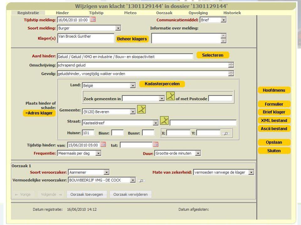 MKROS, Milieuklachten Registratie- en Opvolgingssysteem19 MKROS printscreens