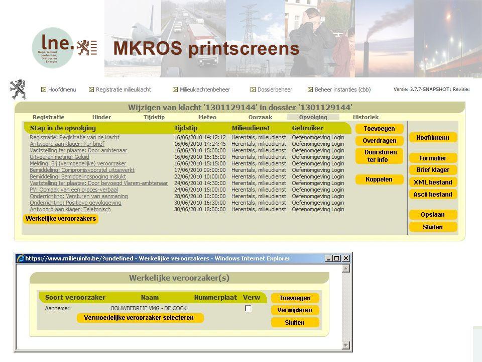 MKROS, Milieuklachten Registratie- en Opvolgingssysteem21 MKROS printscreens