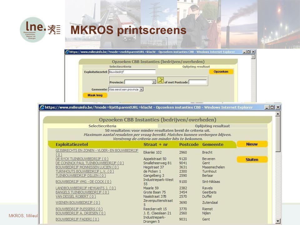 MKROS, Milieuklachten Registratie- en Opvolgingssysteem24 MKROS printscreens