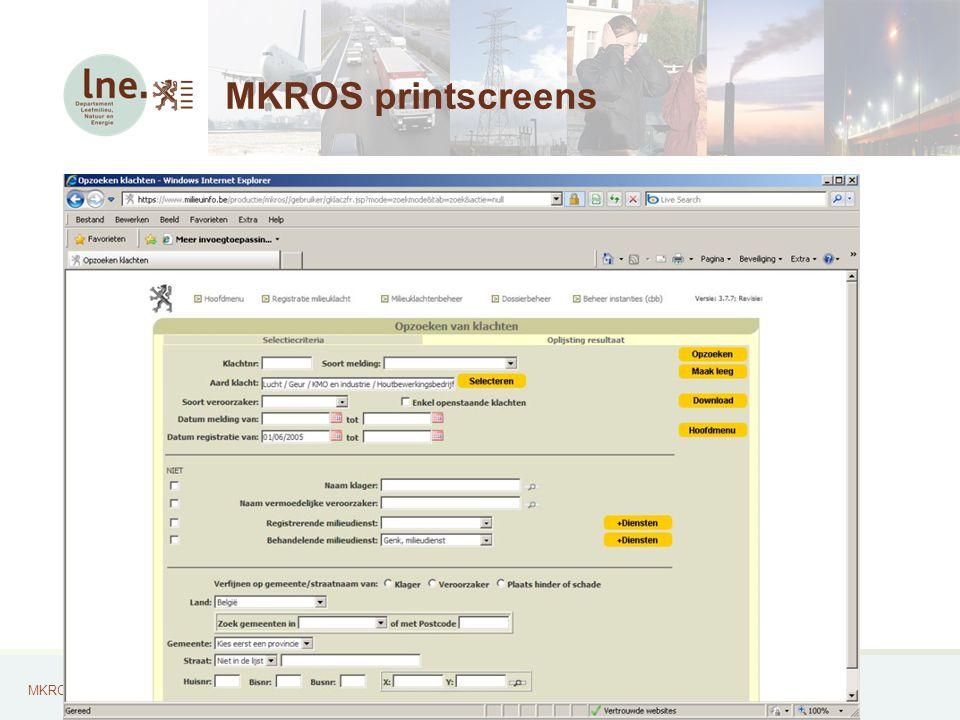 MKROS, Milieuklachten Registratie- en Opvolgingssysteem27 MKROS printscreens