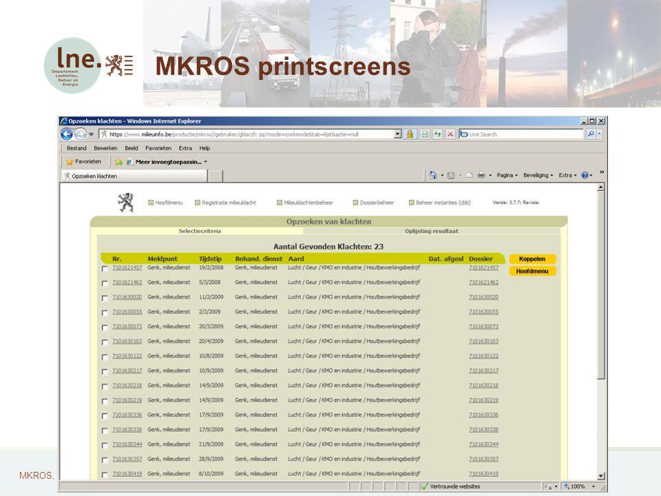 MKROS, Milieuklachten Registratie- en Opvolgingssysteem28 MKROS printscreens