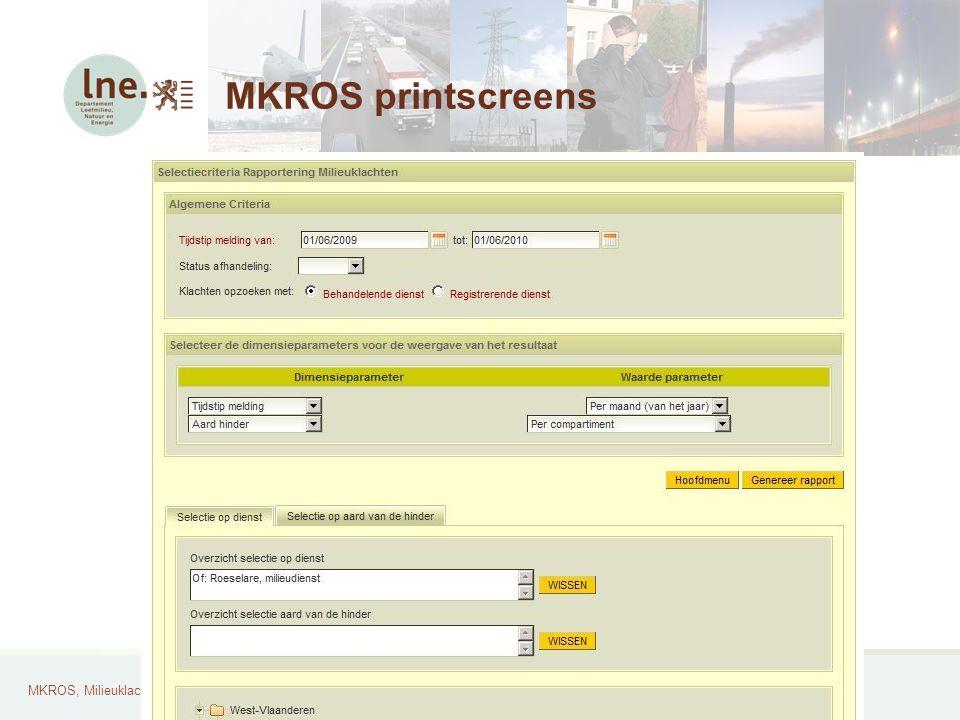MKROS, Milieuklachten Registratie- en Opvolgingssysteem33 MKROS printscreens