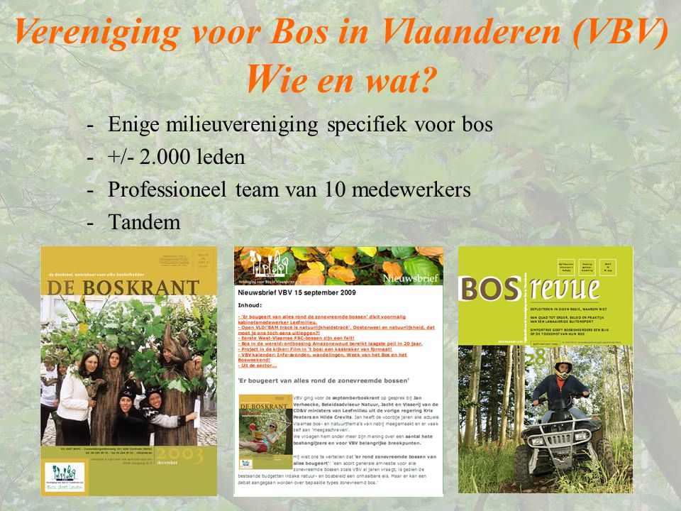 Vereniging voor Bos in Vlaanderen (VBV) W ie en wat? -Enige milieuvereniging specifiek voor bos -+/- 2.000 leden -Professioneel team van 10 medewerker