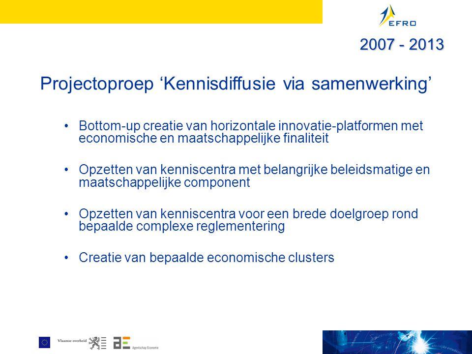 Projectoproep 'Kennisdiffusie via samenwerking' Bottom-up creatie van horizontale innovatie-platformen met economische en maatschappelijke finaliteit Opzetten van kenniscentra met belangrijke beleidsmatige en maatschappelijke component Opzetten van kenniscentra voor een brede doelgroep rond bepaalde complexe reglementering Creatie van bepaalde economische clusters 2007 - 2013