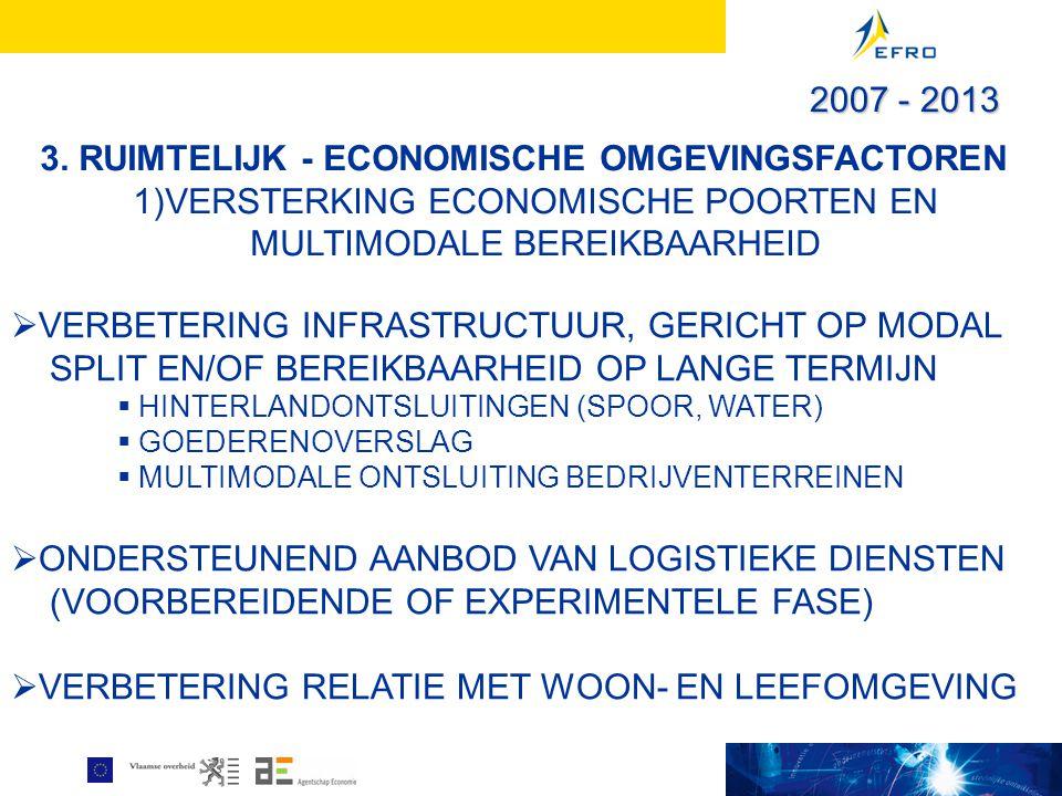 3. RUIMTELIJK - ECONOMISCHE OMGEVINGSFACTOREN 1)VERSTERKING ECONOMISCHE POORTEN EN MULTIMODALE BEREIKBAARHEID  VERBETERING INFRASTRUCTUUR, GERICHT OP