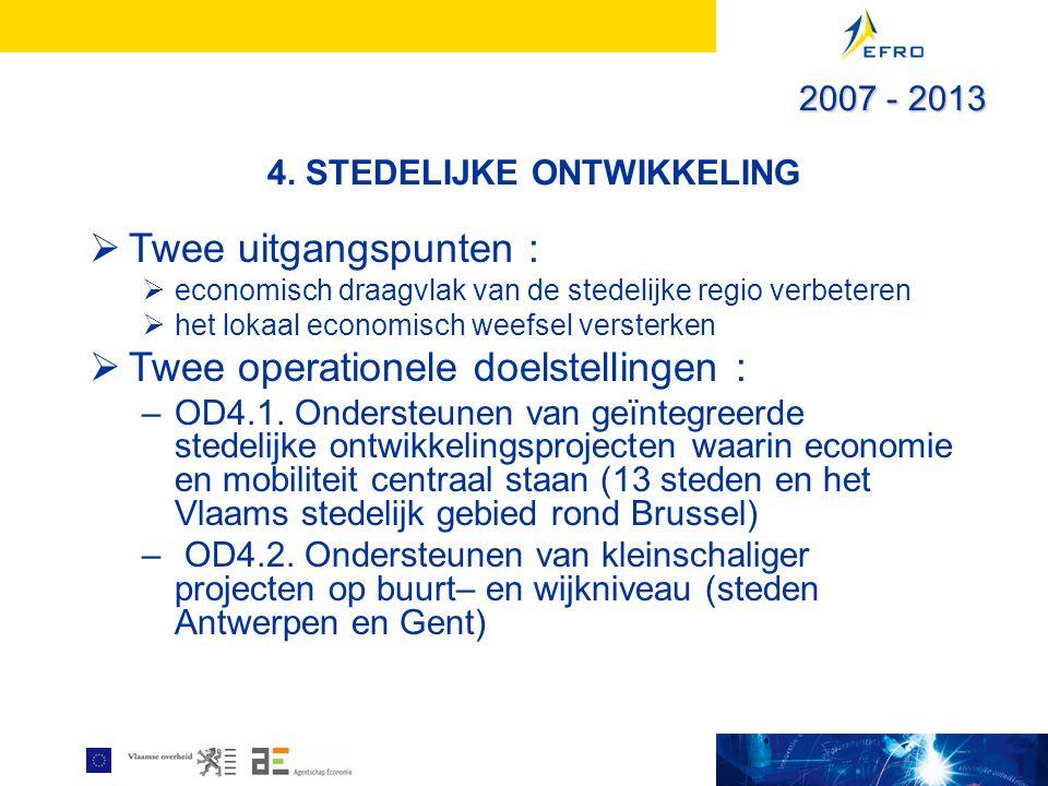 4. STEDELIJKE ONTWIKKELING  Twee uitgangspunten :  economisch draagvlak van de stedelijke regio verbeteren  het lokaal economisch weefsel versterke
