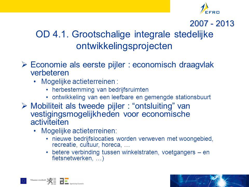 OD 4.1. Grootschalige integrale stedelijke ontwikkelingsprojecten  Economie als eerste pijler : economisch draagvlak verbeteren Mogelijke actieterrei
